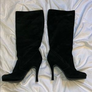 BCBG black suede leather high boots 9.5